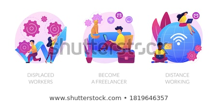 Freelancer abstract afgelegen werk individueel freelance Stockfoto © RAStudio
