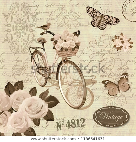 Flowers, butterfly and birds stamps Stock photo © Vividrange
