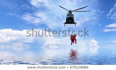 救助 · ヘリコプター · 赤 · 飛行 · ミッション · 緊急 - ストックフォト © hofmeester