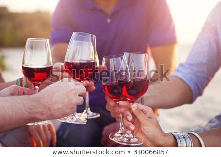 ludzi · okulary · białe · wino · toast - zdjęcia stock © dashapetrenko
