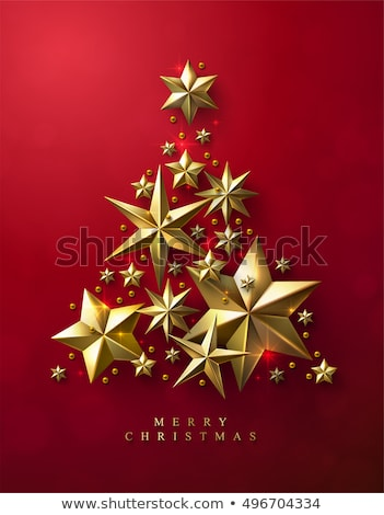 Noel ağacı altın kar taneleri basit soyut mutlu Stok fotoğraf © orson