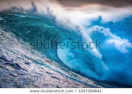 giant wave crashing on cliffs stock photo © morrbyte