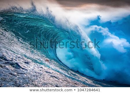 giant wave crashing on cliffs Stock photo © morrbyte