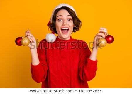 heyecan · verici · Noel · kadın · tam · uzunlukta · portre · yalıtılmış - stok fotoğraf © feedough