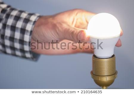 Villanyszerelő tart kompakt fluoreszkáló lámpa nő Stock fotó © photography33