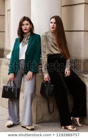 Uzun bacaklar ayakkabı çanta siyah kız moda Stok fotoğraf © dolgachov
