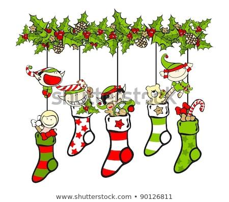rajz · karácsony · harisnya · lány · játékok - stock fotó © komodoempire