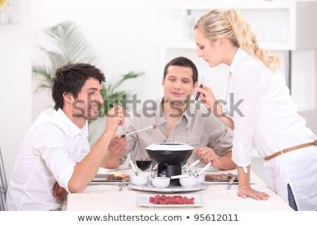 три человека продовольствие дизайна таблице нефть Сток-фото © photography33