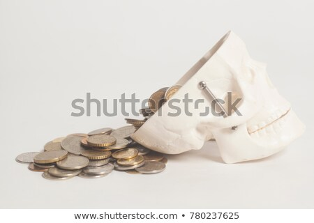 european coins drops in skull stock photo © pterwort