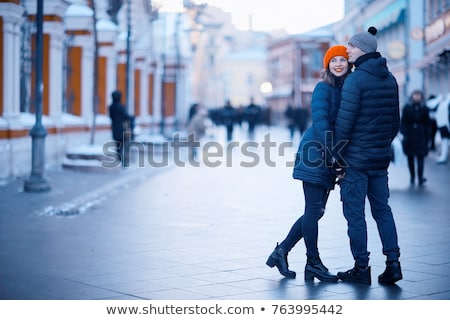 шуба · черный · джинсов · женщину - Сток-фото © andersonrise