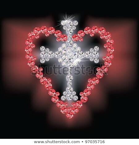 Diamond cross and ruby heart, vector illustration Stock photo © carodi