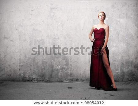 Beautiful blonde in evening gown. Stock photo © Pilgrimego