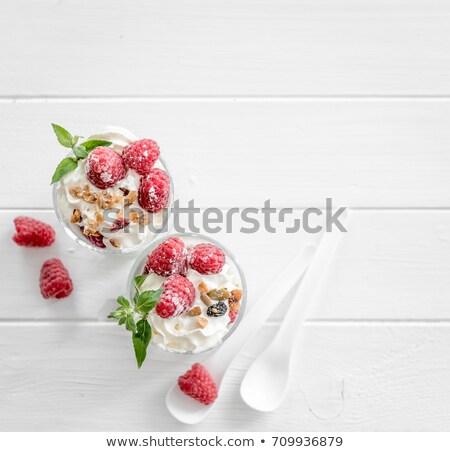 muesli yoghurt dessert with raspberries stock photo © Rob_Stark