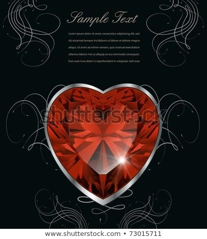 Esküvő gratuláció kártya rubin szív vektor Stock fotó © carodi