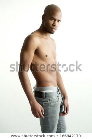 serious topless young man face closeup stock photo © feedough