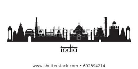Índia linha do horizonte silhueta estátua torre lótus Foto stock © compuinfoto