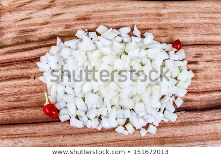 Diced White Onion with red Chillis Stock photo © silkenphotography