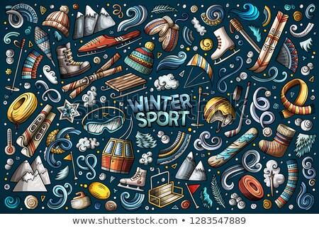 ホッケー オブジェクト デザイン 氷 絵画 マスク ストックフォト © Alegria111