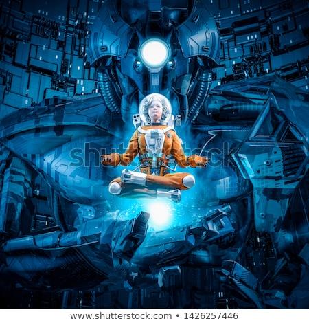 Photo stock: Orange · robot · méditation · posent · isolé · blanche