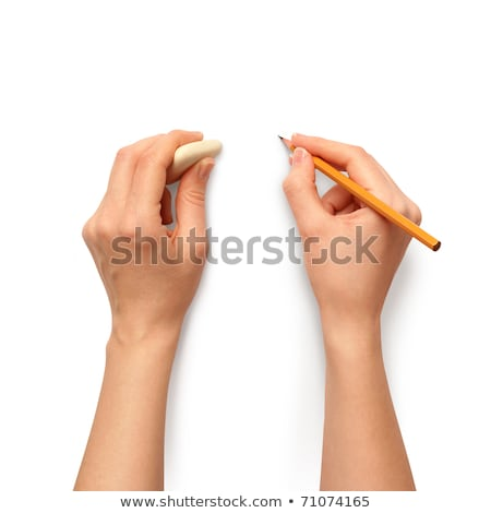 Stock photo: Human hands with pencil and erase rubber writting something. On