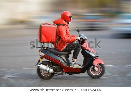 Fiú moped utca jókedv testmozgás tini Stock fotó © meinzahn