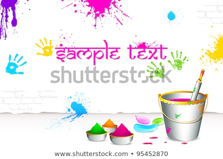 Holi Colorful Spalsh With Bucket Full Of Colors And Pichkari In Stockfoto © Vectomart