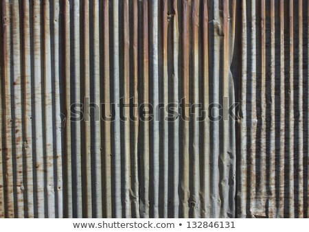 Rusty Old Corrugated Iron Fence Close Up Foto d'archivio © JeremyWhat