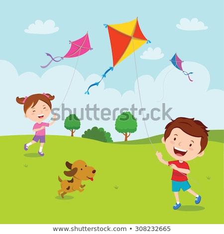 Voador pipa feliz sol verão Foto stock © monkey_business
