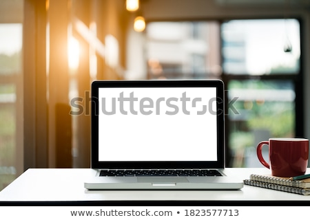 tablet with blank screen and coffee cup stock photo © karandaev