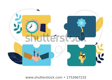 planning, solution, strategy in hexagons, flat design Stock photo © marinini