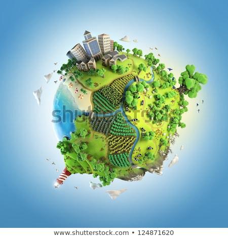 Stock fotó: Föld · zöld · fű · felhőkarcolók · elemek · kép · iroda