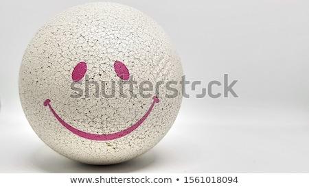 Glimlachend gezichten ingesteld negen cartoon zwart wit Stockfoto © polygraphus