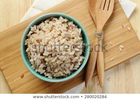Bruin rijst groene kom bamboe Stockfoto © raphotos