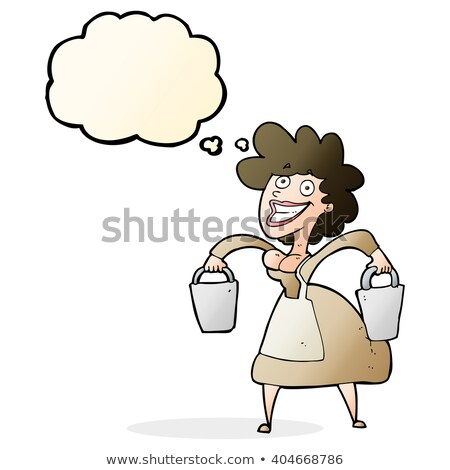 cartoon milkmaid carrying buckets with thought bubble stock photo © lineartestpilot