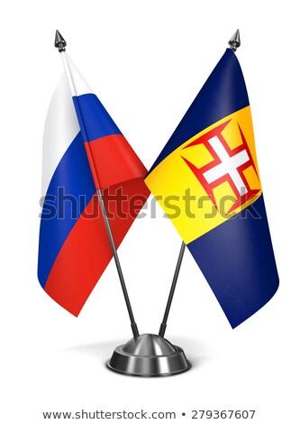 Rusya madeira minyatür bayraklar yalıtılmış beyaz Stok fotoğraf © tashatuvango