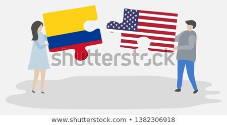 США Колумбия флагами головоломки вектора изображение Сток-фото © Istanbul2009