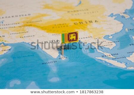 Sri Lanka zászló térkép vidék forma Stock fotó © tony4urban