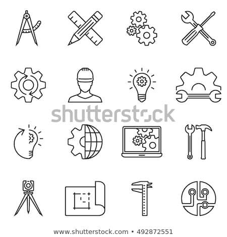 Stock photo: Computer and gear thin line icon