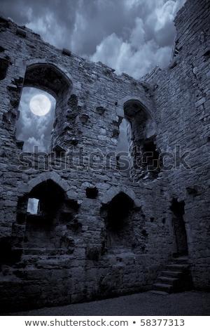 velho · castelo · pôr · do · sol · ruínas · cidade · verde - foto stock © artush
