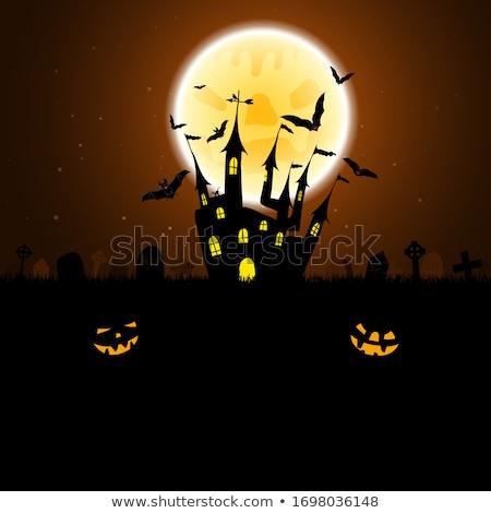 Halloween kisértetjárta ház tökök szellemek égbolt Stock fotó © WaD