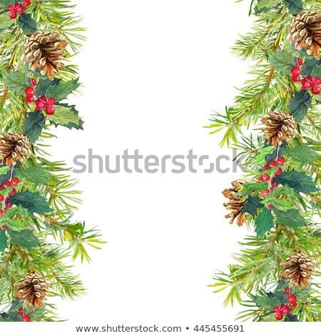 Christmas card with a fringe of branches of Christmas trees and festive toys on branches Stock photo © mcherevan