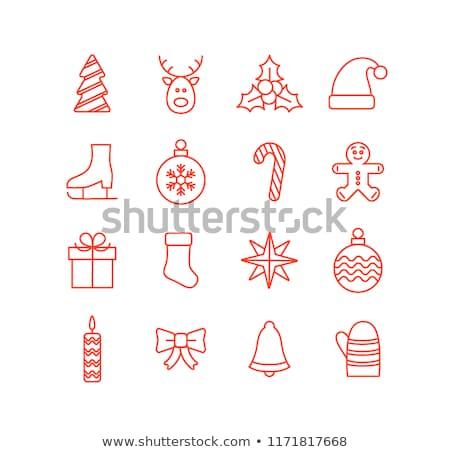 neşeli · Noel · yılbaşı · kar · tanesi · altın · Retro - stok fotoğraf © cienpies