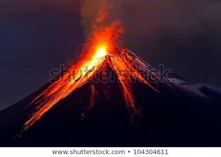 вулкан · закат · мнение · горные · красный · силуэта - Сток-фото © julian_fletcher