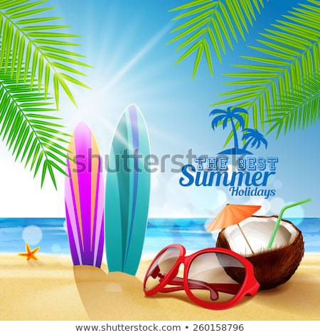 Vector of coconut, starfish and sunglasses at beach. Stock photo © Morphart