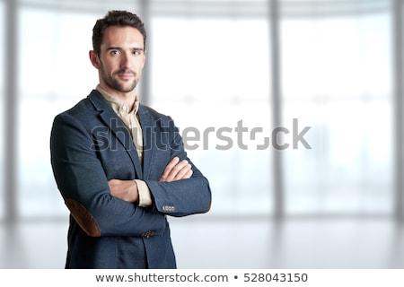 avukat · ayakta · portre · erkek · kitaplık - stok fotoğraf © cherezoff