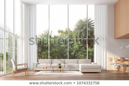 Eetkamer hoog plafond gezellig houten Stockfoto © jrstock