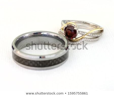 Gyémánt házassági évforduló gyűrű izolált fehér tükröződés Stock fotó © fruitcocktail