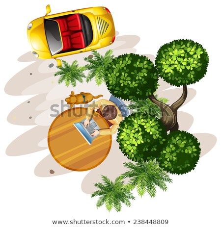 Topview of vehicles, plants and people at the table Stock photo © bluering