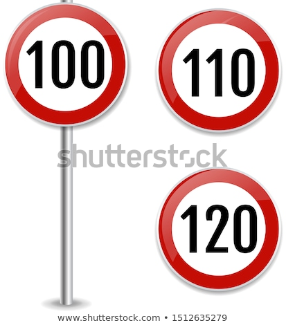 Stok fotoğraf: 120 Kmph Or Mph Driving Speed Limit Sign On Highway