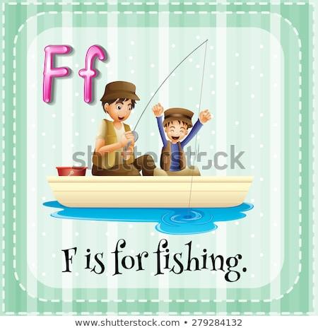 Letra f pescaria ilustração crianças criança fundo Foto stock © bluering